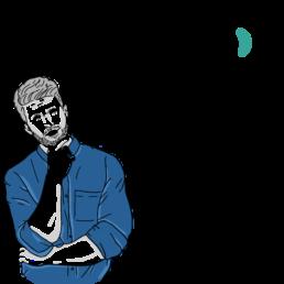 Een tekening van een man die nadenkt over het juiste concept van de podcast